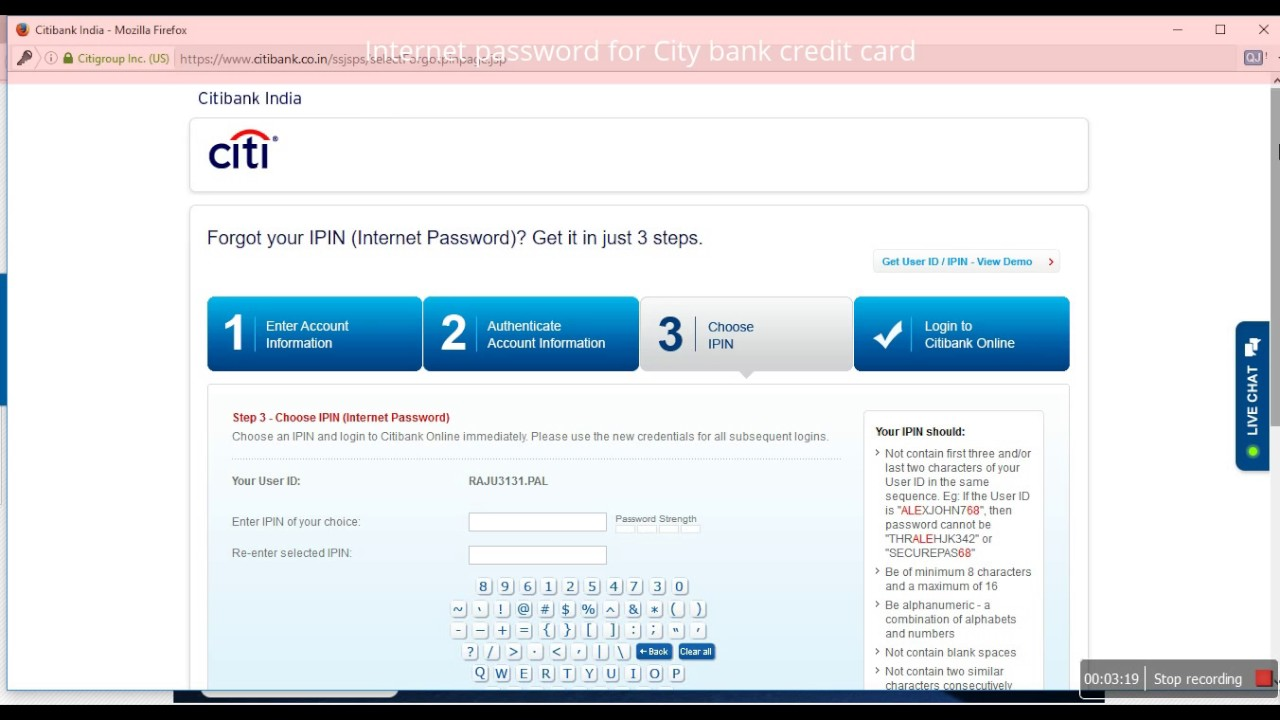 Citibank Credit Card Payment Online >> How To Change Create The Internet Passward Ipin For City Bank