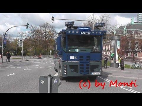 [Mit Pressluft zu den Krawallen!] Wasserwerfer der Polizei Hamburg im Einsatz (HD)