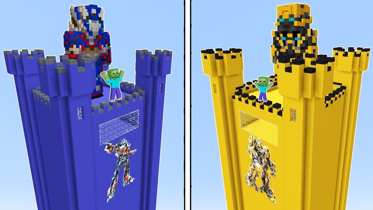 OPTİMUS PRİME KULE VS BUMBLEBEE KULE 😱 - Minecraft