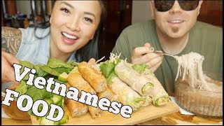 Vietnamese FOOD (Pho SOUP + Salad Roll + Spring Roll) | Mukbang *Lets EAT | SASVlogs