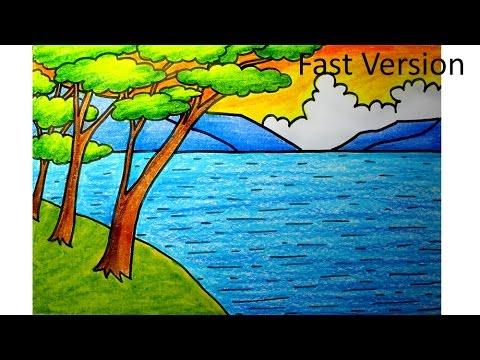 painting idea for kids-oil pastels-landscape (fast)