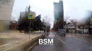 Driving In Heavy Rain - Tirana, Capital Of Albania 🇦🇱 [4K Ultra HD]