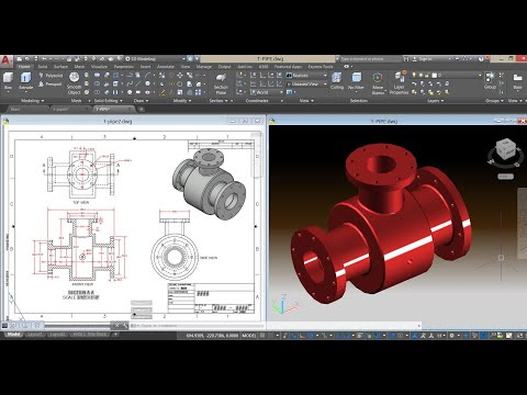 Unequal Tee Pipe Fitting ✐ AutoCad 3D ✐ Mechanical Exercise