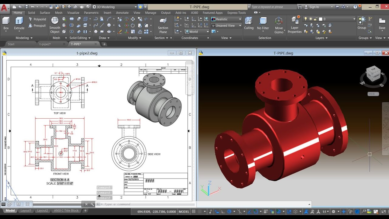 Autocad3D Tutorial - Oldham Coupling by AC 3DCad