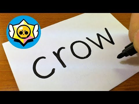 Very Easy ! How To Turn Words CROW(Brawl Stars)into A Cartoon - How To Draw Doodle Art