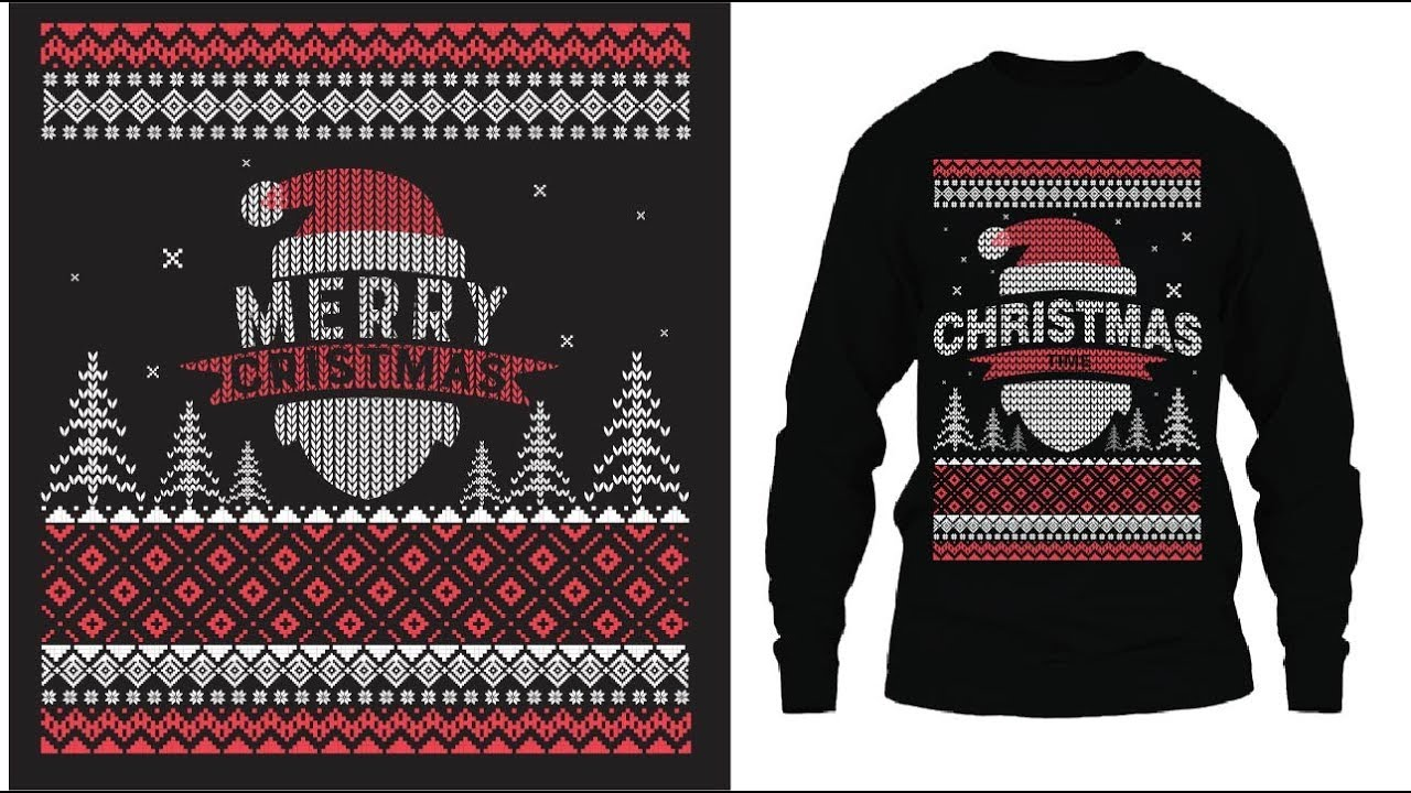 Ugly Christmas Sweater Design.Illustrator Ugly Christmas Sweater Design Video Ugly Sweater Design Tutorial
