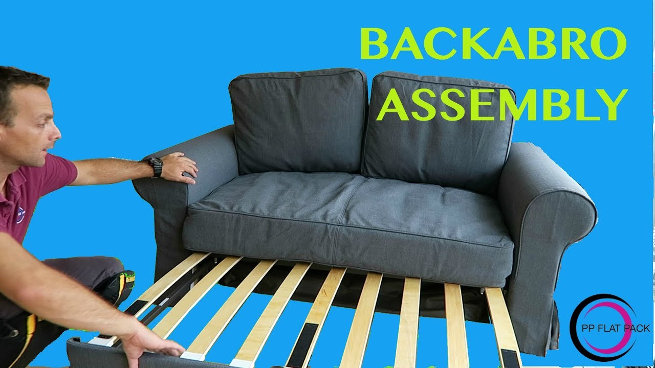 Ikea Two Seat Sofa Bed Assembly Backabro Youtube