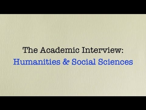 9/17/2013 The Academic Interview: Social Sciences and Humanities