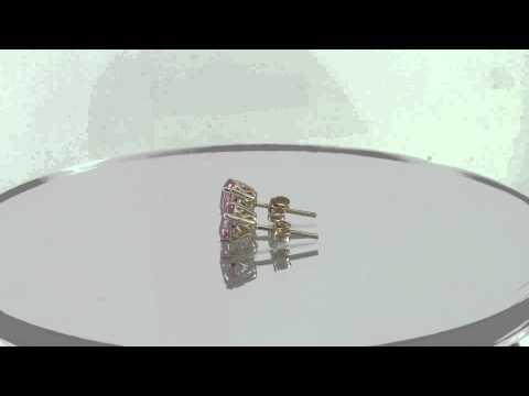 Estate 1.50 CT 14k Yellow Gold Pink Sapphire Stud Earrings DGLA Certified