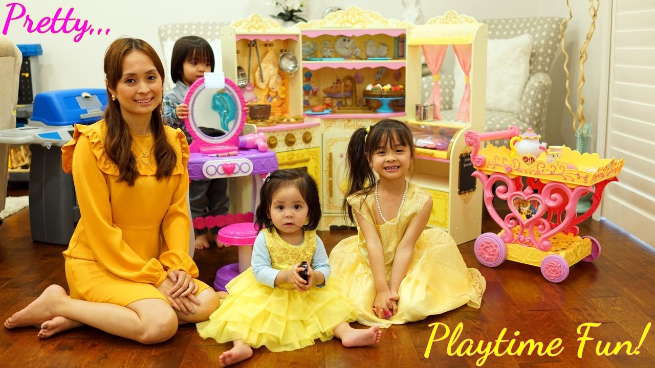 Toy Channel Little Girls Toys Disney Princess Belle Kitchen Playset Teapot Playset And Vanity