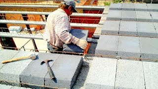 Building a house step by step  31 40 Ceiling beams and hollow bricks arrangement
