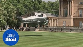 The Daily Mail - Donald Trump UK visit: Marine One touches down at Buckingham Palace