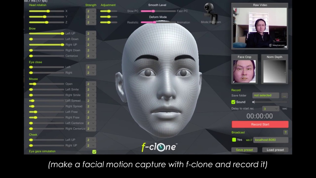 Blender real time markerless facial mocap pipeline tutorial - f-clone