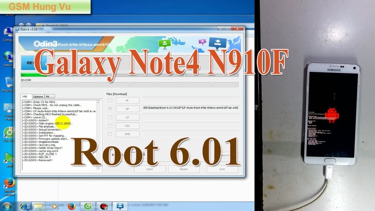 Root Galaxy note4 N910F 6 01 by Odin