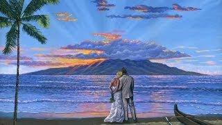 как нарисовать свадебный портрет на пляже, используя холст акрил живопись  урок