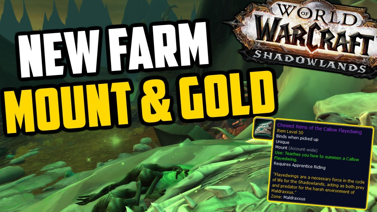 New Mount & Goldfarm in Shadowlands! BoE & Mount / Skinning Farm in Maldraxxus!