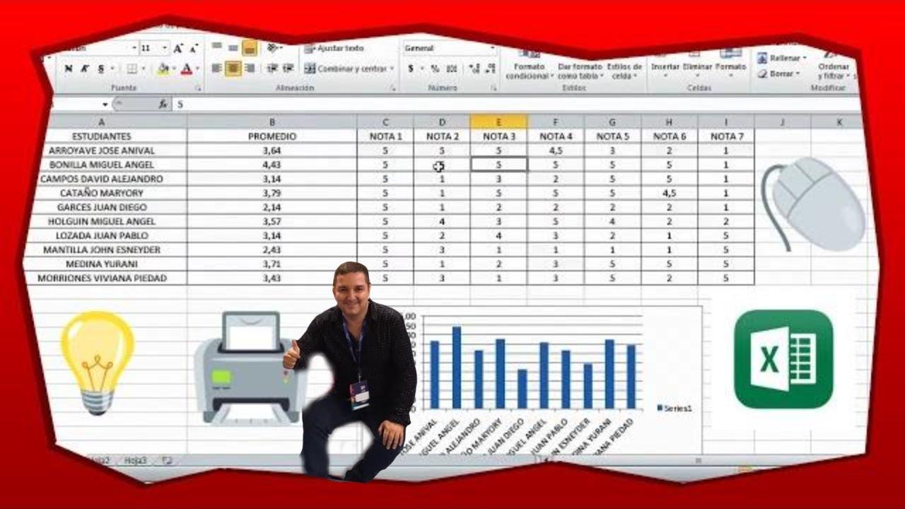 Tutorial para insertar formula de promedio lista de for Como hacer una nomina en excel con formulas
