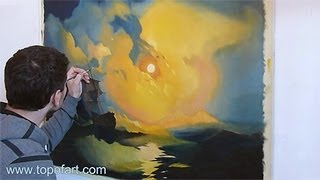 Art Reproduction (Aivazovsky - Storm on the Sea at Night) Hand-Painted Step by Step