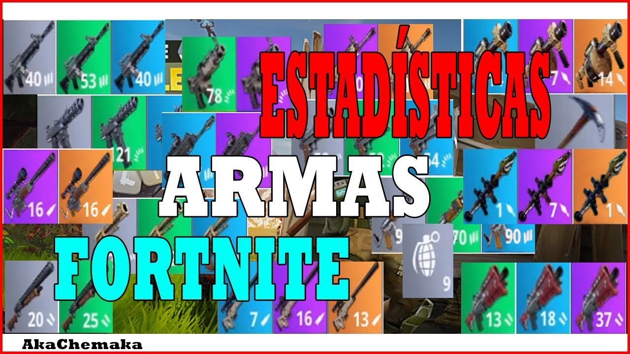 estadisticas de todas las armas fortnite - foto de todas as armas do fortnite