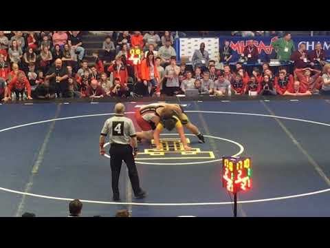 Goodrich heavyweight Blake Coffell upsets Lowell's Tyler Deloof in the 2019 wrestling state finals