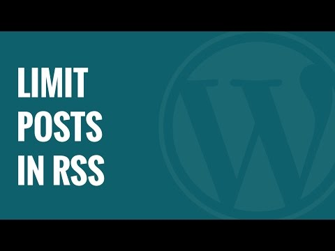 How to Limit the Number of Posts in WordPress RSS Feed - 동영상