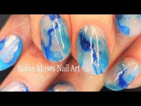 Peaceful Blue Water Nail Art Tutorial | Easy Watercolor Yoga Nails Design