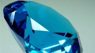 GLASS DIAMOND PAPERWEIGHT AQUAMARINE 100MM 4 INCH DIAMETER