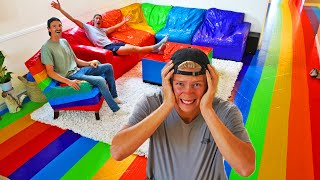 We Rainbow Duct Taped his ENTIRE House Prank! *SATISFYING*