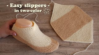 Легкие двухцветные следки спицами ☀ Easy two-color slippers knitting pattern