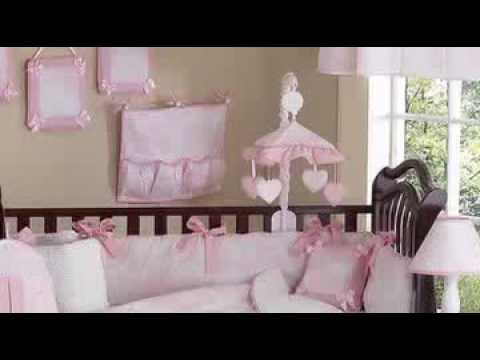 Pink And White French Toile Baby Crib Bedding Set By JoJo De
