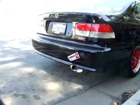 Cherry Bomb exhaust pipe on honda civic si - YouTube