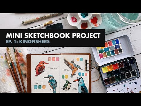 painting kingfishers & getting back into art again · mini sketchbook project ep. 1