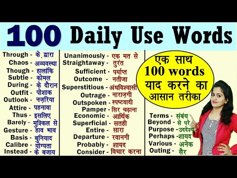 Meaning in hindi word List of