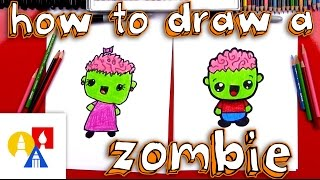 How To Draw A Cartoon Zombie Boy And Girl