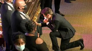 Minneapolis Mayor Jacob Frey cries at George Floyd's casket at memorial