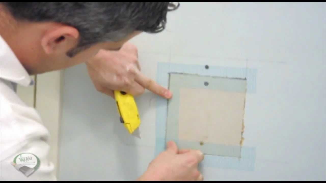 how 2 for u drywall repair patching a large hole in your wall youtube. Black Bedroom Furniture Sets. Home Design Ideas
