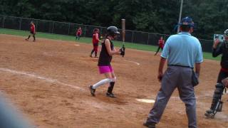 10 yr old fastpitch pitcher Leah playing 16U Rec Ball gets a pick off