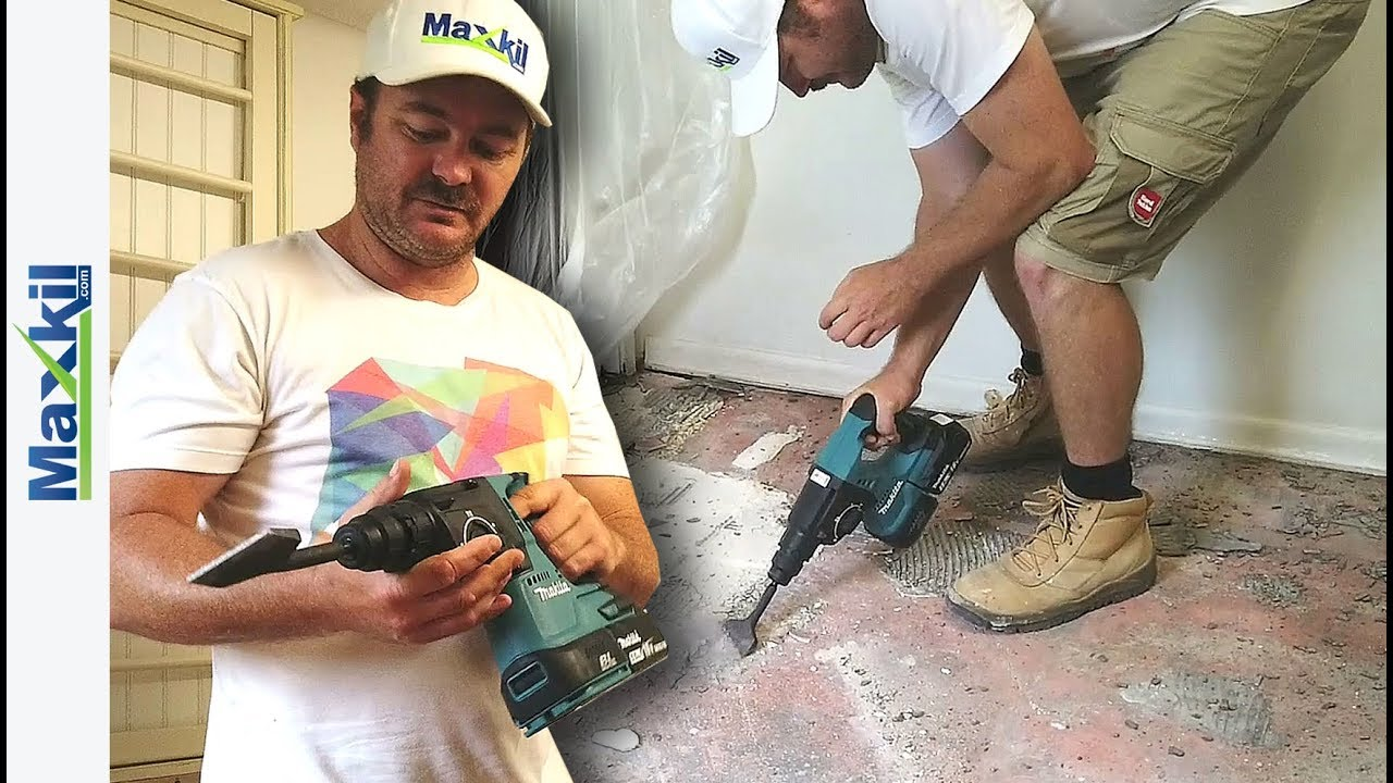 how to remove floor tiles with 18v hammer drill