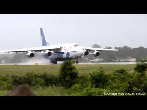 Polet Airlines Antonov An-124 landing at Johan Adolf Pengel International airport