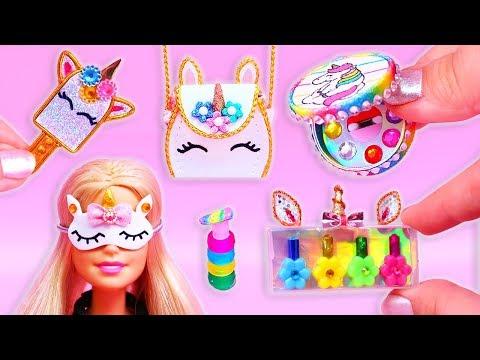🦄10 DIYS Maquillaje en Miniatura de UNICORNIO (Maquillaje, Bolso, Antifaz, Brochas, Espejo) 🦄