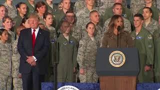 Melania Trump speaks at Air Force base
