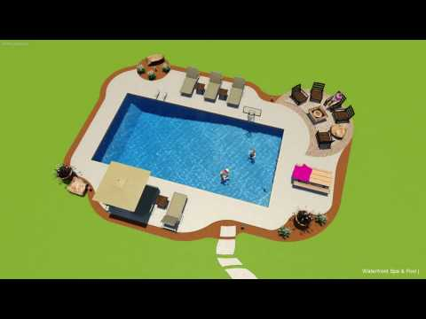 Waterfront Spa & Pool design for 18x36 pool in Peterson, MN