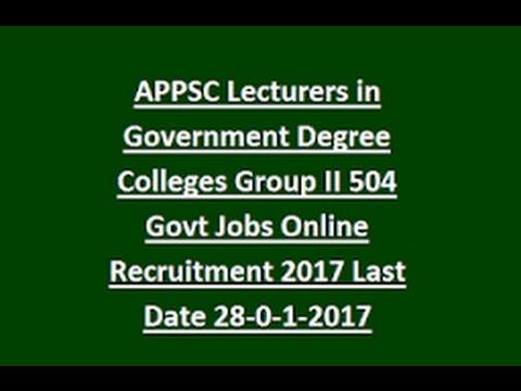 APPSC  Lecturer Recruitment  | AP Vacancy   | 504  Posts  | LD - 28/01/17