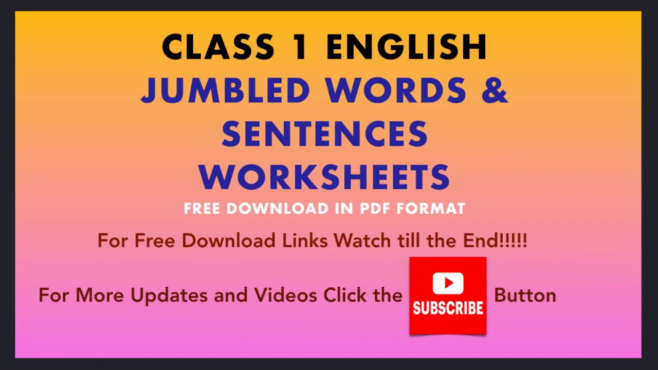 Jumbled Sentences Class 1 Worksheets Basic English Grammar Grade 1 Youtube