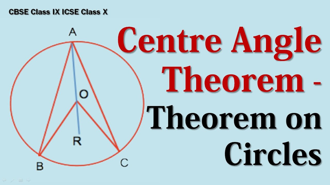 Centre Angle Theorem - Theorem on Circles CBSE Class IX ICSE Class X ...