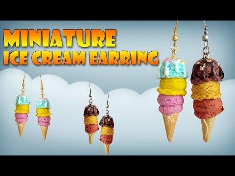 Miniature İce Cream Earring - Polymer Clay Tutorial (Jewelry DIY)