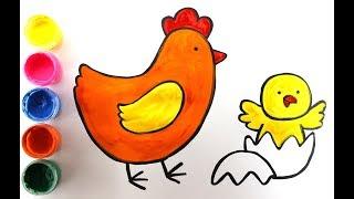 Рисуем домашних животных. Курочка, петух, и цыпленок