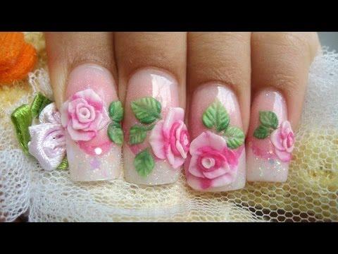 Como hacer rosas acrilicas en 3d relieve sobre u as youtube for Decoracion 3d unas acrilicas