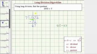 Ex: Long Division - Four Digit Divided by One Digit (No Remainder)