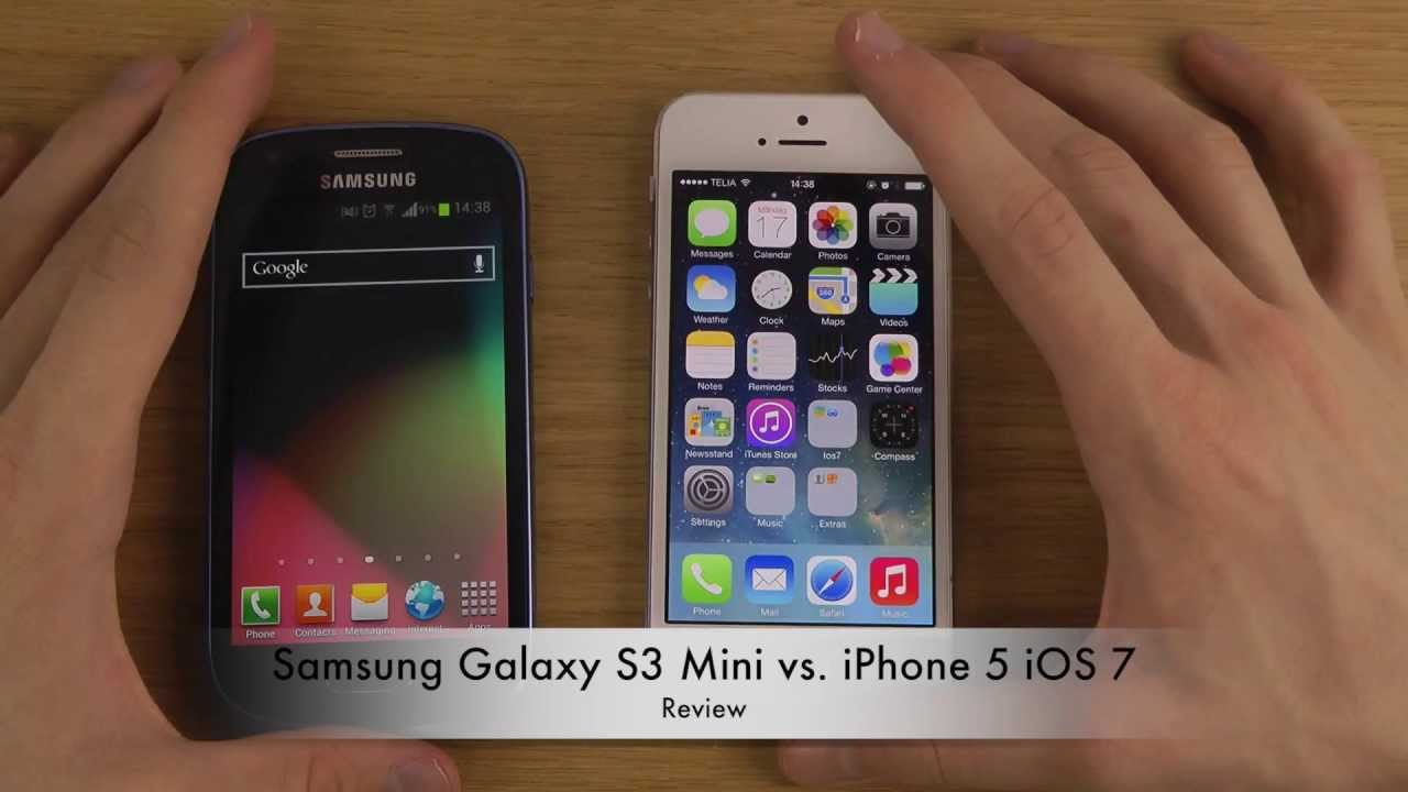 samsung galaxy s3 mini vs iphone 5 ios 7 review youtube. Black Bedroom Furniture Sets. Home Design Ideas